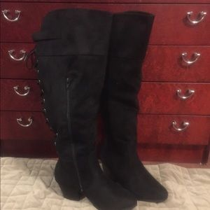 Charlotte Russe Black sueded over the knee boots
